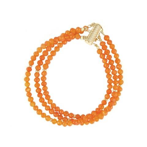 14k Yellow Gold Carnelian Chain Bracelet