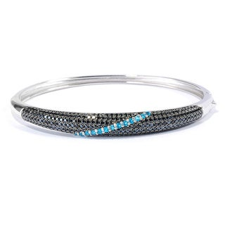 Sterling Silver 7-inch Black Spinel Neon Blue Apatite Bangle