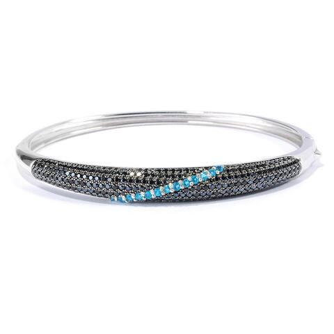 Pinctore Sterling Silver 7-inch Black Spinel Neon Blue Apatite Bangle