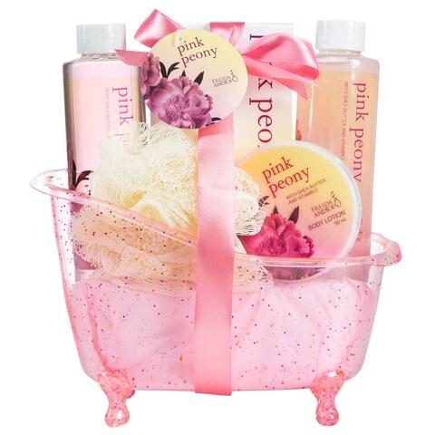 Freida and Joe Pink Peony Tub Bath 5-piece Gift Set