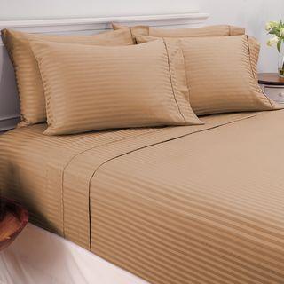 Damask Stripe Egyptian Cotton 450 Thread Count 6-piece Deep Pocket Sheet Set