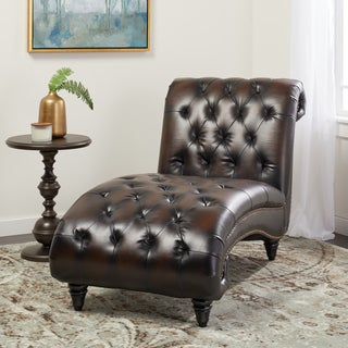 Abbyson Alessio Hand Rubbed Brown Leather Chaise