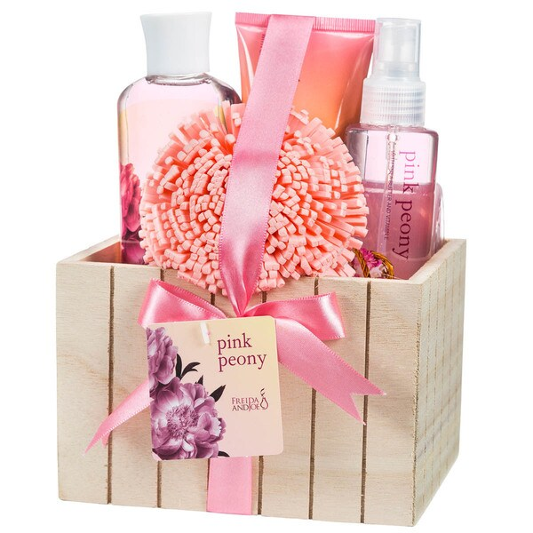 Pink Peony Wood Box Bath Gift Set