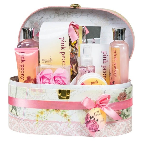 Pink Peony Jewelry & Cosmetic Box Spa Bath Gift Set