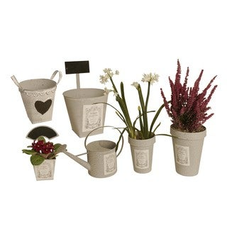 Wald Imports Set of 6 Metal Planters in assorted Shapes & sizes