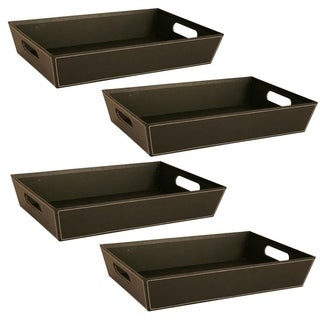 "Wald Imports Set of 4 -17"" BLACK PAPERBOARD TRAY"