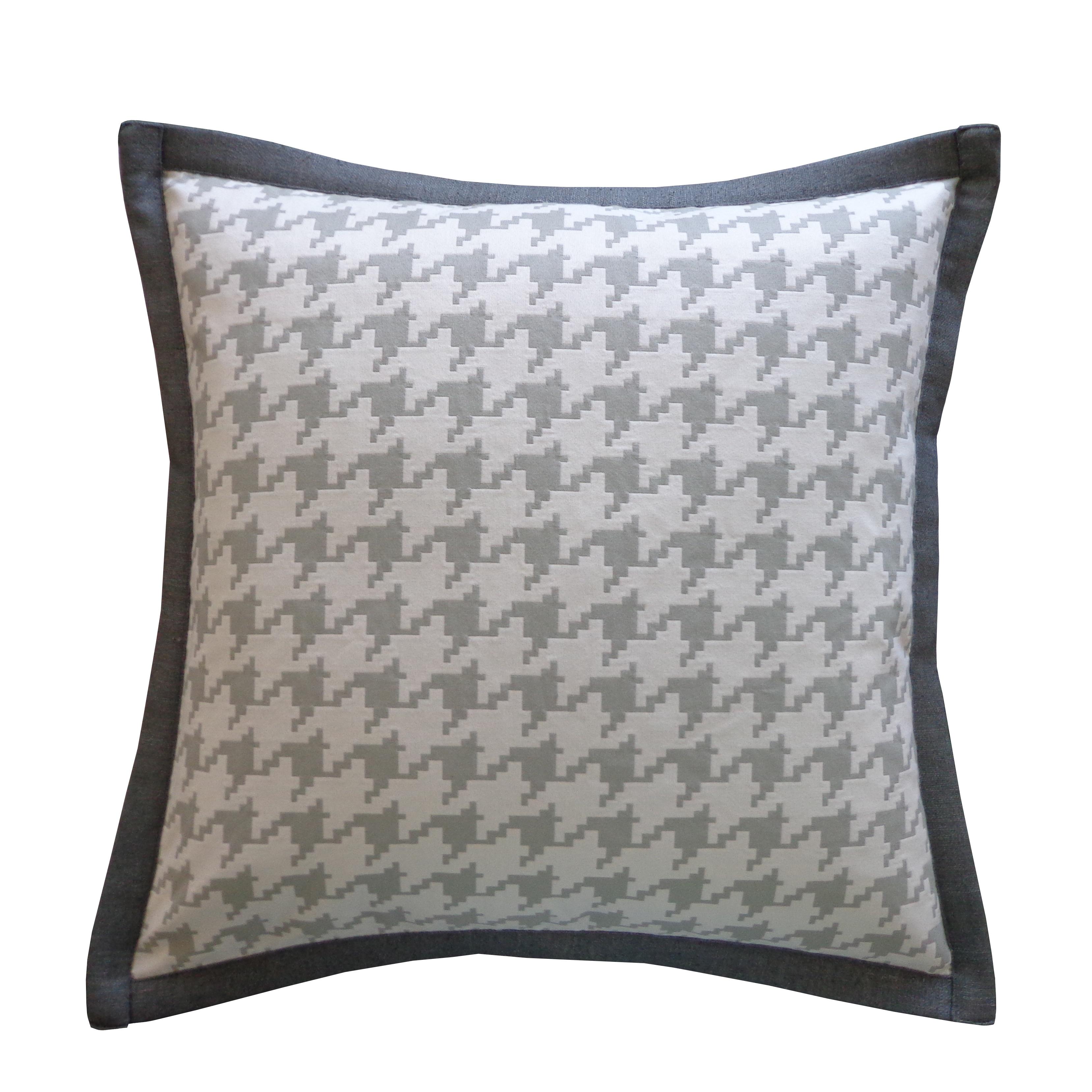 Handmade Houndstooth Gray Cotton Pillow Overstock 9480152