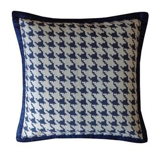 Jiti Blue Houndstooth Cotton Pillow
