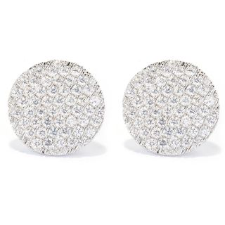 Sterling Silver 2 1/4ct TGW Pave-set White Zircon Circle Earrings