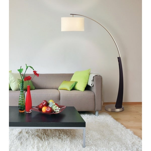 52 Inch High Modern Metal Arc Floor Lamp with White Linen Shade