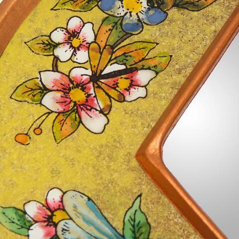 Handmade Reverse Painted Glass Yellow Summer Garden Mirror (Peru)