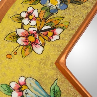 Handcrafted Reverse Painted Glass 'Yellow Summer Garden' Mirror (Peru)