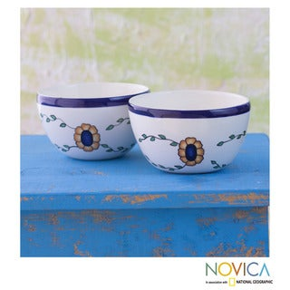 Set of Two Handcrafted Ceramic 'Margarita' Bowls (Guatemala)