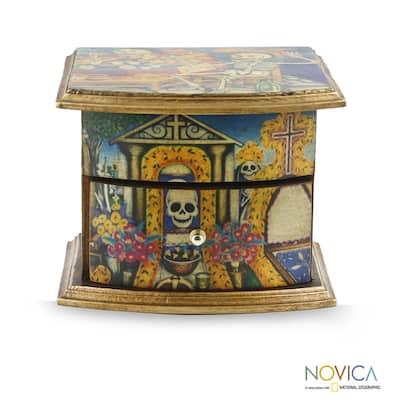 NOVICA Pinewood 'Day of the Dead Celebrations' Decoupage Jewelry Box