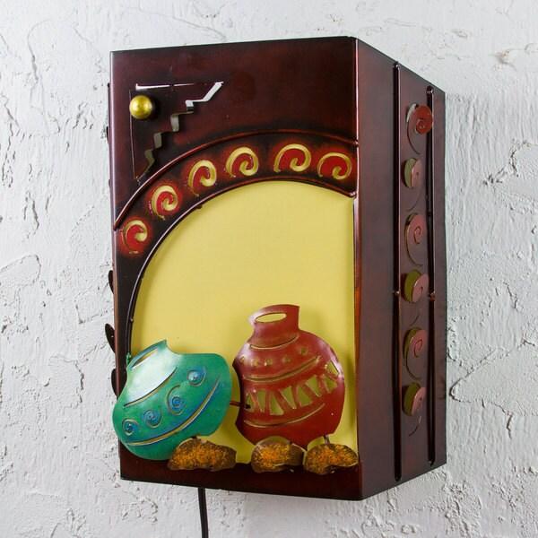 Handmade Iron 'Mexican Clay Pots' Wall Lamp (Mexico)