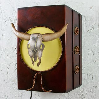 Handcrafted Iron 'Longhorn by Moonlight' Wall Lamp (Mexico)