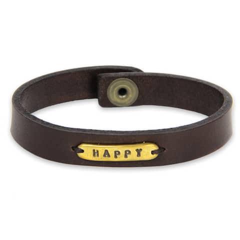 Handmade Leather Brass 'Happy' Bracelet (Indonesia)
