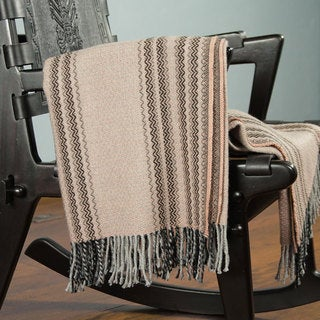Acrylic Alpaca Wool 'Sunset Symphony' Throw Blanket (Peru)
