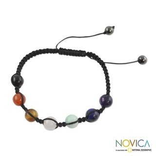 Handmade Multi-gemstone 'Well-being' Chakra Bracelet (India)