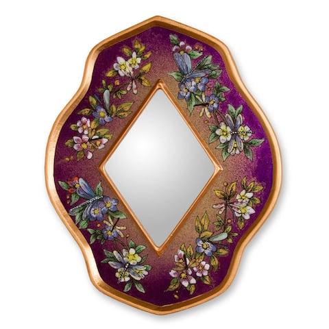 Handmade Reverse Painted Glass Purple Summer Garden Mirror (Peru)