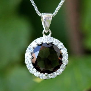 Sterling Silver Round Smoky Quartz Necklace (Thailand)