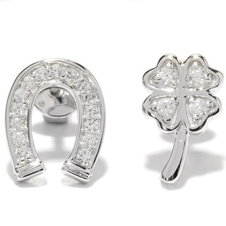 Platinum over Stainless Steel White Zircon Coordinating Symbol Clover and Horseshoe Stud Earrings
