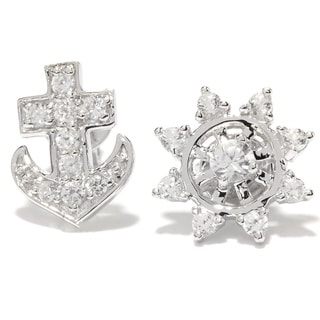 Platinum Over Silver White Zircon Anchor and Nautical Wheel Stud Earrings