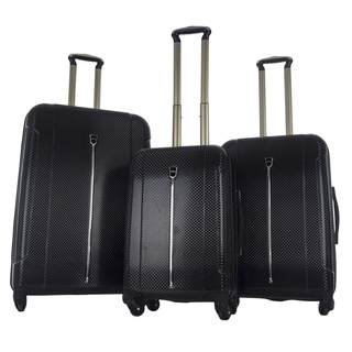 CY Luggage Black Textured 3-piece Expandable Spinner Luggage Set