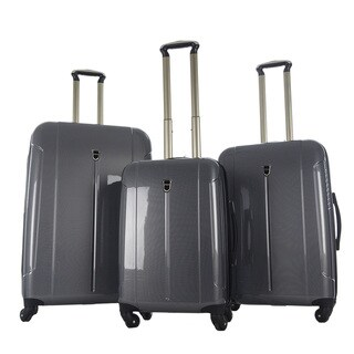 CY Luggage Checkerboard Print Polycarbonate 3-piece Spinner Luggage Set
