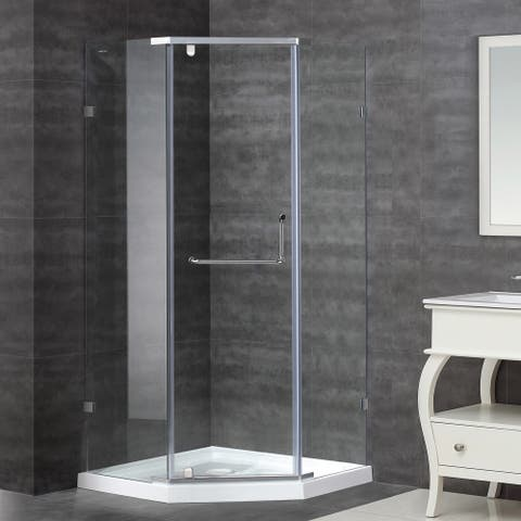 Aston 38-in x 38-in Semi-Frameless Neo-Angle Shower Enclosure in Stainless Steel with Base
