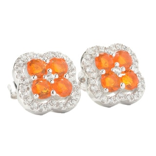 Sterling Silver Fire Opal and Cubic Zirconia Clover Earrings