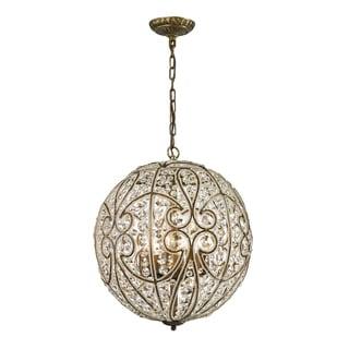 Elk Lighting Elizabethan Aged Bronze and Crystal 8-light Pendant
