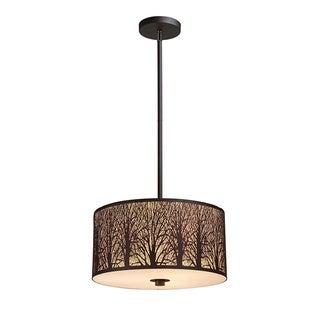 Elk Lighting Woodland Sunrise Aged Bronze 3-light Cylindrical Pendant