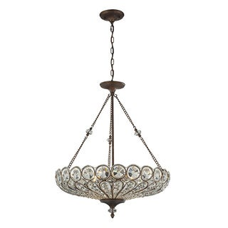Elk Lighting Christina Crystal and Mocha 6-light Semi Flush Mount Pendant