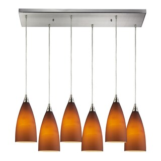 Elk Lighting Vesta 6-light Tobacco Glass/ Satin Nickel Pendant