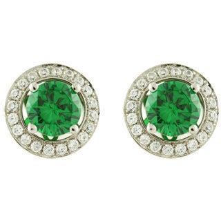 Platinum Green Cubic Zirconia Halo Stud Earrings