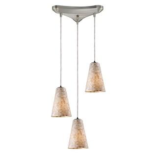 Capri Satin Nickel and Blown Glass 3-light Pendant