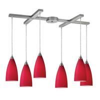 Elk Lighting Vesta 6-light Cardinal Red/ Satin Nickel Pendant