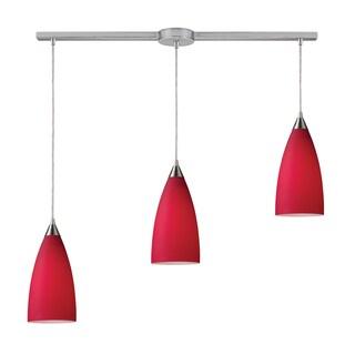 Elk Lighting Vesta 3-light Cardinal Red/ Satin Nickel Linear Pendant