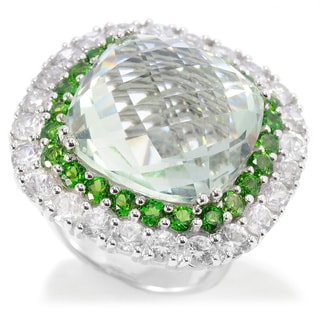Sterling Silver 24 7/8ctw Cushion Shaped Green Amethyst Ring