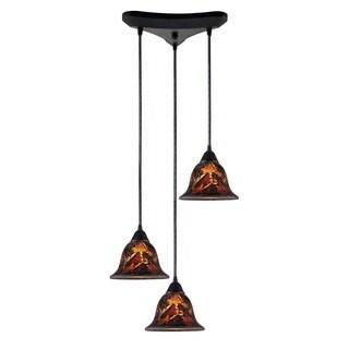 Firestorm Dark Rust Hand-blown Glass 3-light Pendant