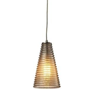 Elk Lighting Ribbed Glass Single-light Satin Nickel Mini Pendant