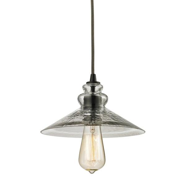 Elk Lighting Hammered Glass Single-light Oil-rubbed Bronze Mini Pendant