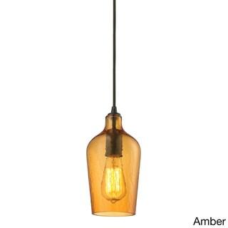 Elk Lighting Hammered Glass Oil-rubbed Bronze Single-light Mini Pendant