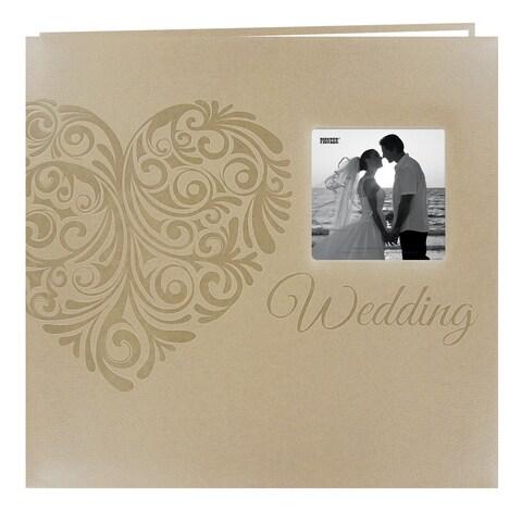 Pioneer Postbound Heart-embossed Leatherette Wedding Memory Book (12x12)