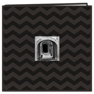 Pioneer Postbound Chevron Embossed Black Leatherette Memory Book (12x12)