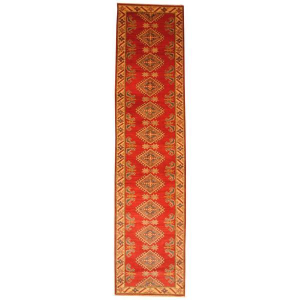 Herat Oriental Afghan Hand-knotted Tribal Kazak Red/ Ivory Wool Rug (2'9 x 11'7)