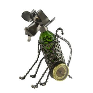WineBodies Sitting Dog Clock Metal Wine Bottle Holder