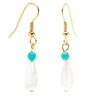 Detti Originals Gold Tone Pearl and Turquoise Earrings