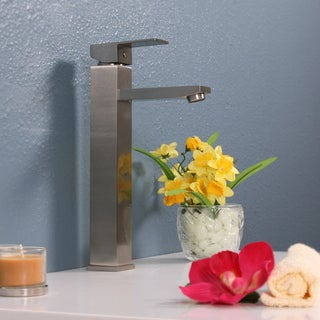 Legion Furniture Tall Brushed Nickel Single-hole Square Faucet